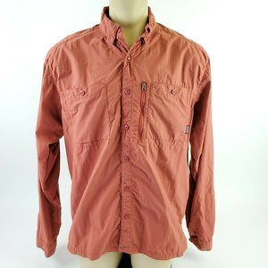Patagonia EUC Mens XL Red Long Sleeved Shirt Fish